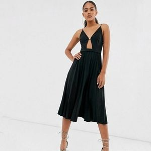 ASOS Strappy Pleated Cut Out Flare Midi Dress 10